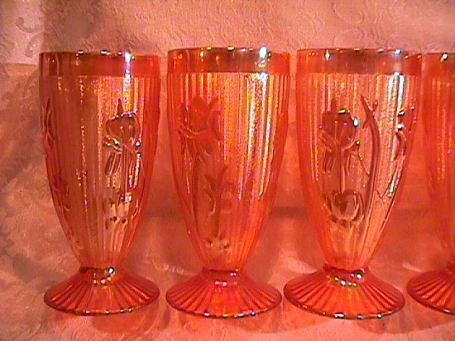 CARNIVAL GLASS IRIS & HERRINGBONE 7 PC. WATER SET MARIGOLD JEANETTE GLASS CO.
