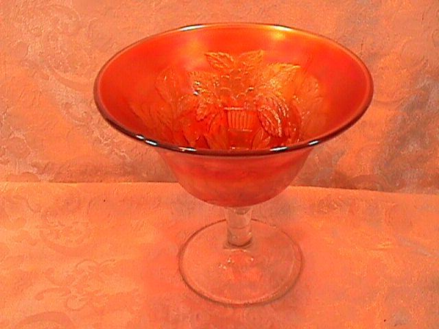 CARNIVAL GLASS PEACOCK at the URN GOBLET / CHAMPAGNE / COMPOTE MARIGOLD FENTON