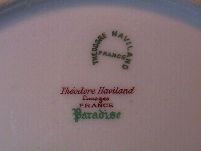 PARADISE DINNER PLATE THEODORE HAVILAND LIMOGES FRANCE