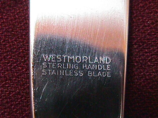 STERLING WESTMORELAND GEORGE & MARTHA WASHINGTON DINNER KNIFE