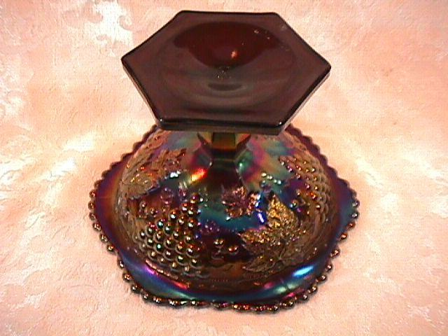 CARNIVAL GLASS GRAPE & CABLE WHIMSEY COMPOTE AMETHYST NORTHWOOD