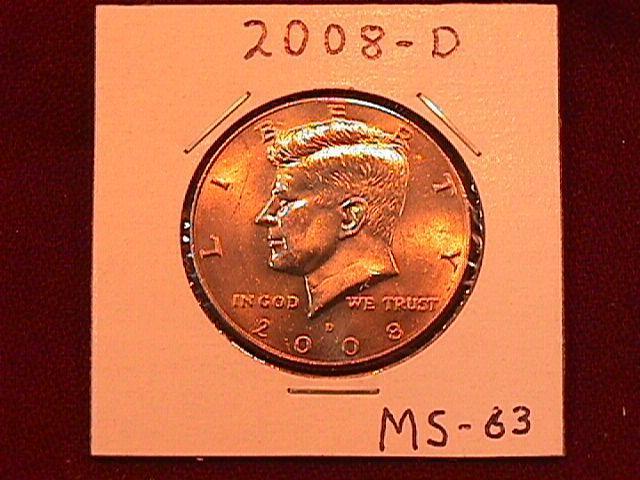 KENNEDY HALF DOLLAR 2008-D MINT STATE-63+++