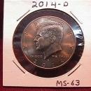 KENNEDY HALF DOLLAR 2014-D MINT STATE-63+++