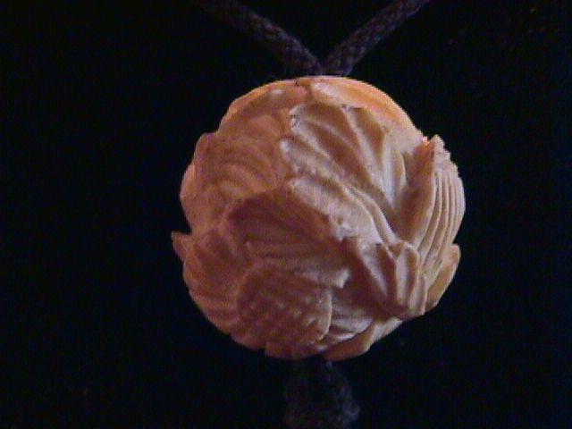Antique Genuine Ivory Floral Carved Necklace