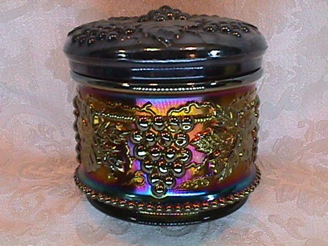 CARNIVAL GLASS GRAPE & CABLE POWDER JAR & LID AMETHYST BY: NORTHWOOD