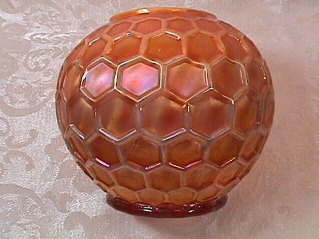 CARNIVAL GLASS HONEYCOMP ROSEBOWL PEACH OPAL BY DUGAN