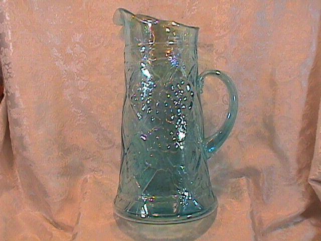 CARNIVAL GLASS GRAPEVINE AND LATTICE ICE BLUE TANKARD PITCHER BY GIBSON RARE ITEM