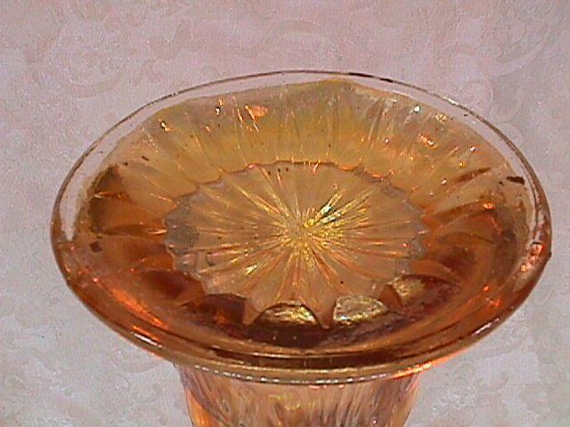 CARNIVAL GLASS BEADED BULLSEYE VASE MARIGOLD BY IMPERIAL