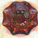 CARNIVAL GLASS FRUIT & FLOWERS AMETHYST BOWL BY NORTHWOOD