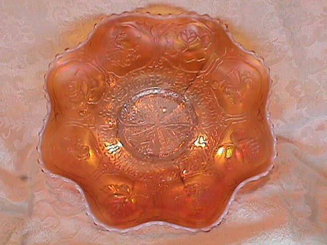 CARNIVAL GLASS DRAGON & LOTUS PEACH OPAL BOWL RARE BY FENTON