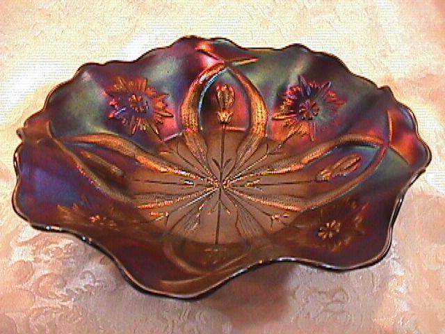 CARNIVAL GLASS FOUR FLOWERS VARIANT AMETHYST BOWL BY  EDA GLASS