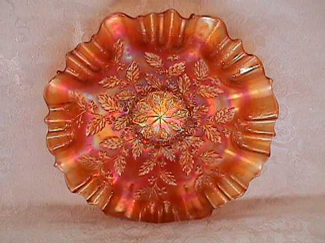 CARNIVAL GLASS HOLLY BOWL PUMPKIN MARIGOLD BY FENTON