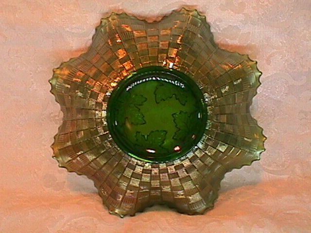 CARNIVAL GLASS GRAPE & CABLE  BOWL  GREEN  BY NORTHWOOD