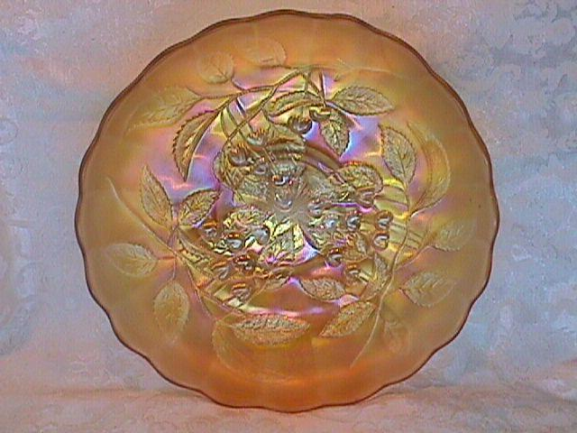 CARNIVAL GLASS CHERRY I.C.S. BOWL PASTEL MARIGOLD BY MILLERSBURG