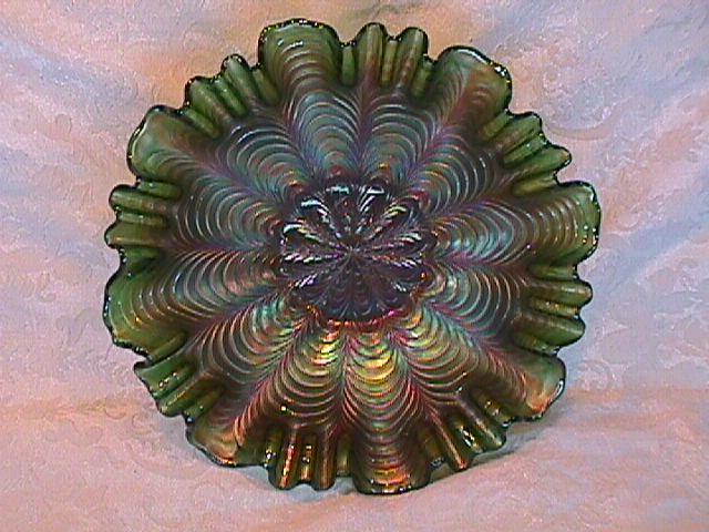 CARNIVAL GLASS PEACOCK TAIL GREEN 3 & 1 EDGE bowl by FENTON