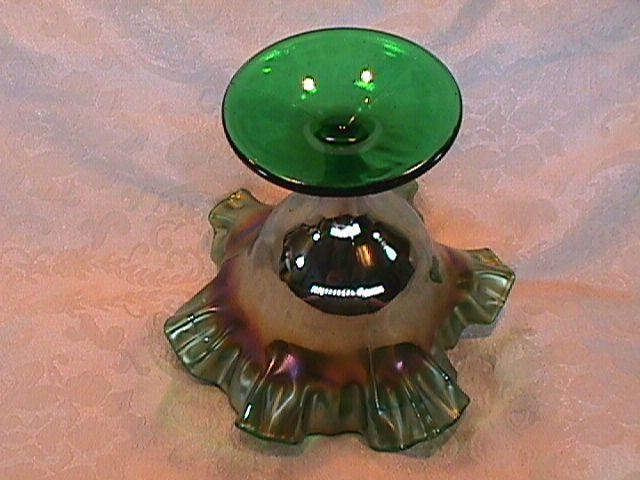 CARNIVAL GLASS SCOTCH THISTLE COMPOTE GREEN BY FENTON RARE COLOR