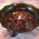 CARNIVAL GLASS BUTTERFLY & BERRY MASTER BOWL GREEN BY FENTON
