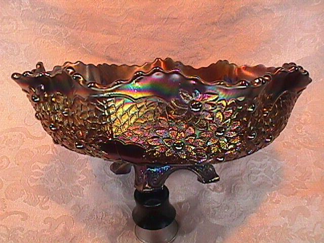 CARNIVAL GLASS ORANGE TREE MASTER BOWL BLUE  BY FENTON