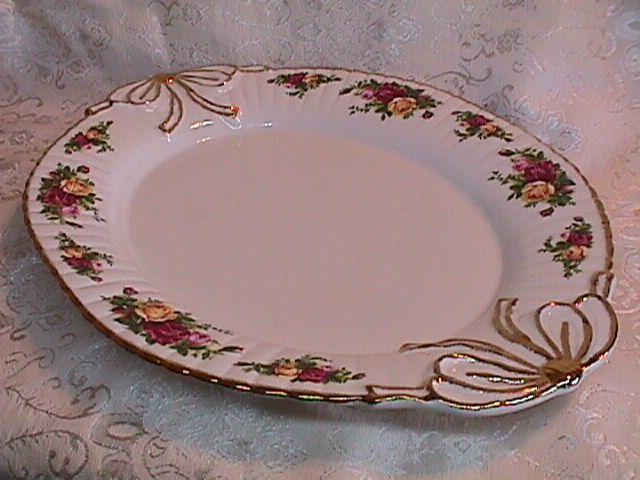 OLD COUNTRY ROSES RIBBON PLATTER BY: ROYAL ALBERT 1962