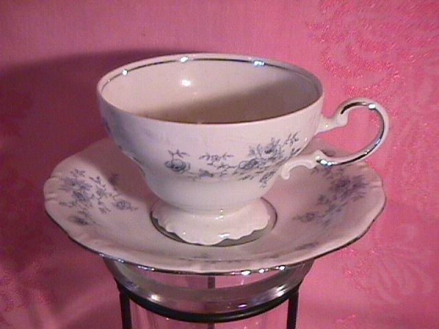 Johann Haviland Blue Garland Cup/Saucer-Fancy Foot