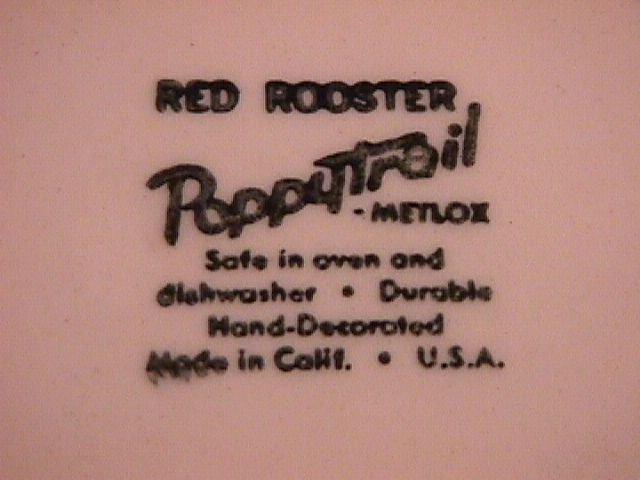 Metlox-Red Rooster Salad Plate