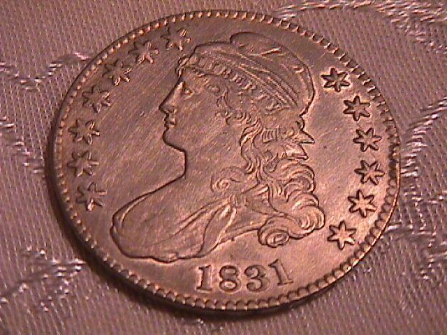 CAPPED BUST SILVER HALF DOLLAR   DATED -1831 GRADED EXTREMELY FINE-45 Condition