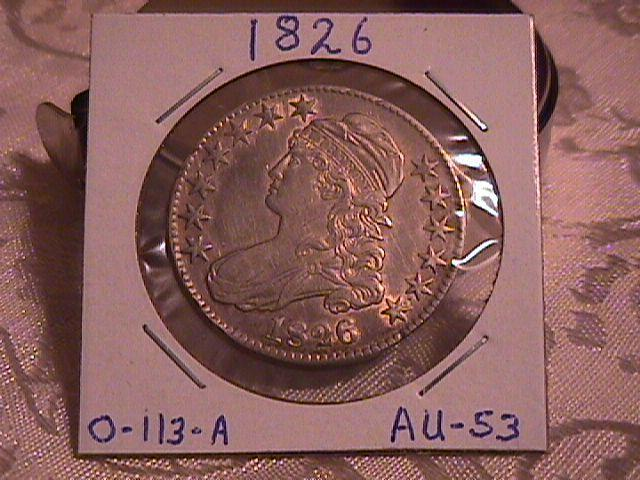 Capped Bust Half Dollar Coin 1826 High Grade= Almost Uncirculated 53