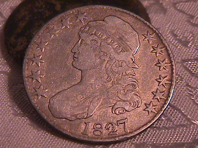 CAPPED BUST HALF DOLLAR  DATED -1827 SQUARE BASE 2  GRADED VERY FINE -30   Condition