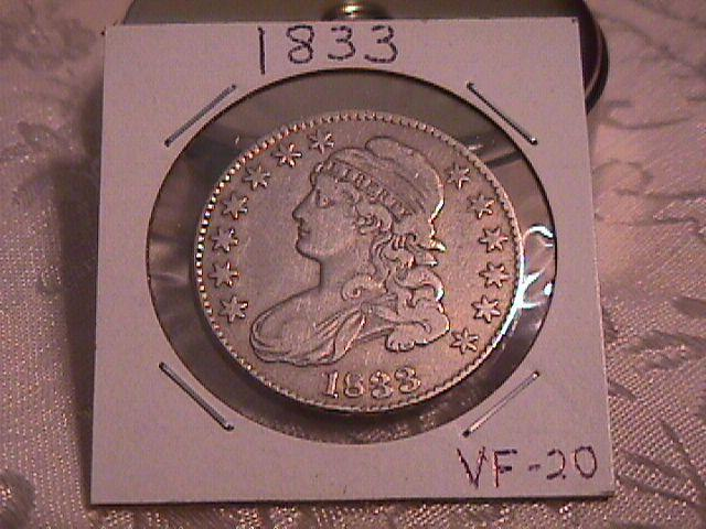 CAPPED BUST HALF DOLLAR  DATED 1833  GRADED VERY FINE -20   Condition