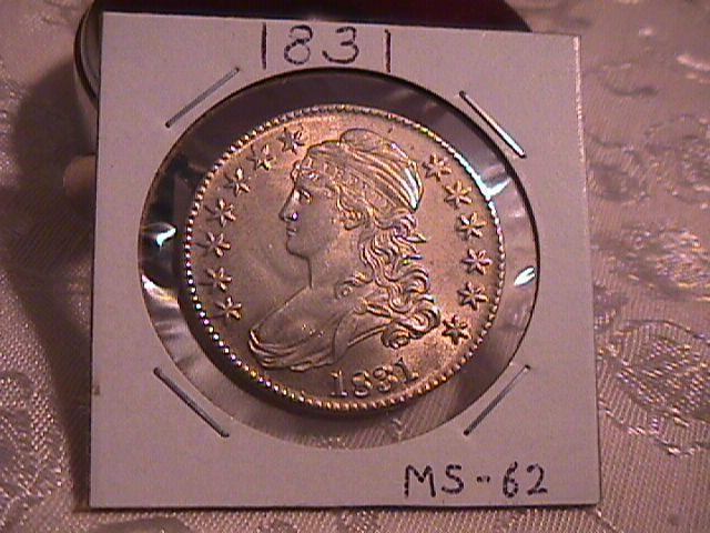 Capped Bust Half Dollar Coin 1831 High Grade= MINT STATE 62 ++