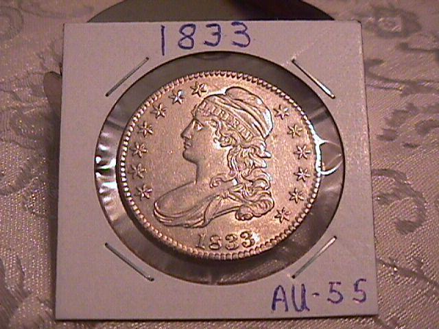 Capped Bust Half Dollar Coin 1833 High Grade= Almost Uncirculated  55