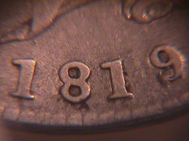 CAPPED BUST HALF DOLLAR P.C.G.S. SLABBED  DATED -1819/8 SMALL 9 GRADED VERY GOOD 8   Condition