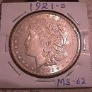 MORGAN SILVER DOLLAR 1921-D GRADED MINT STATE 62 MINTAGE OF 20,345,000
