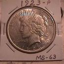 PEACE SILVER DOLLAR 1923-P GRADED MINT STATE 63 MINTAGE OF 30,800,000