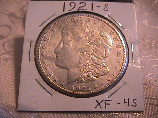 MORGAN 1921-S SILVER DOLLAR EXTREMELY FINE-45 MINTAGE OF 21,695,000