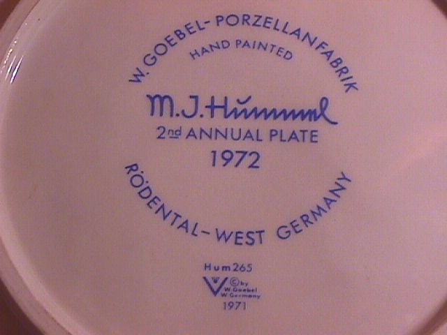 Hummel Second Edition 1972 Annual Christmas Plate