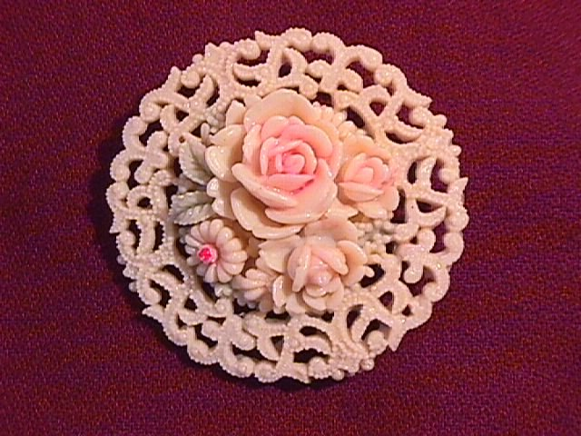 Celluloid, Marked Occupied Japan, Lacy Floral Pin