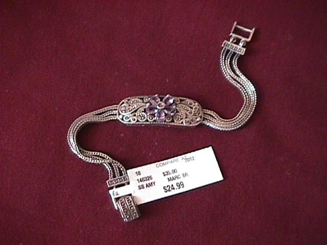 Sterling Amethyst & Paisley Design  Marcasite Bracelet