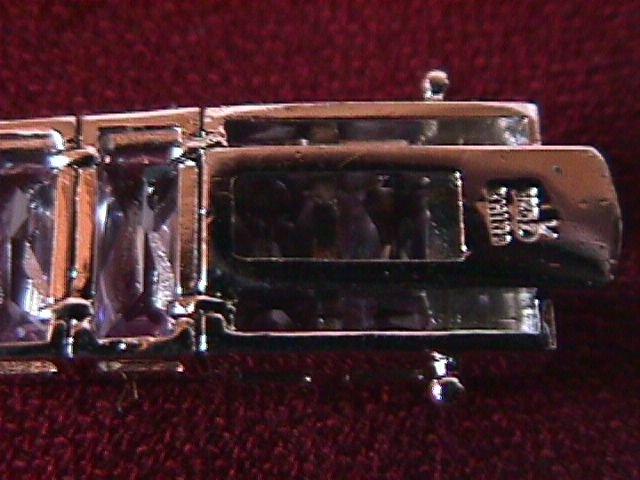 Large Sterling & Amethyst Cubic Zirconia Bracelet