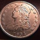 Capped Bust Half Dollar  1834 Very Fine-35 Condition LARGE DATE SMALL LETTERS