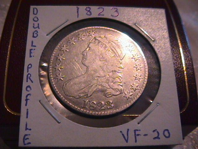 CAPPED BUST  SILVER HALF DOLLAR 1823 DOUBLE PROFILE GRADED VERY FINE-20