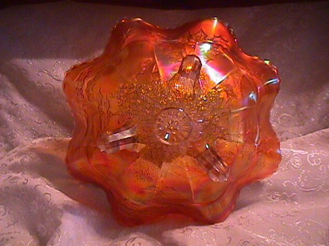 STAG AND HOLLY 8 RUFFLE SCROLL FOOTED CARNIVAL GLASS BOWL   IN PUMPKIN MARIGOLD BY FENTON