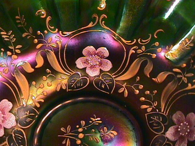 ART GLASS BRIDES BASKET GREEN IRIDESCENCE WITH HAND APPLIED ENAMELED PINK CHERRY BLOSSOMS