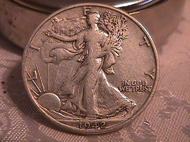LIBERTY WALKING  HALF DOLLAR  DATED -1942-D GRADED EXTREMELY FINE -45   Condition