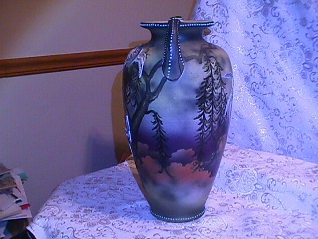 MORIAGE DECORATED EARLY SATSUMA NIPPON JAPANESE BIRD SCENE VASE