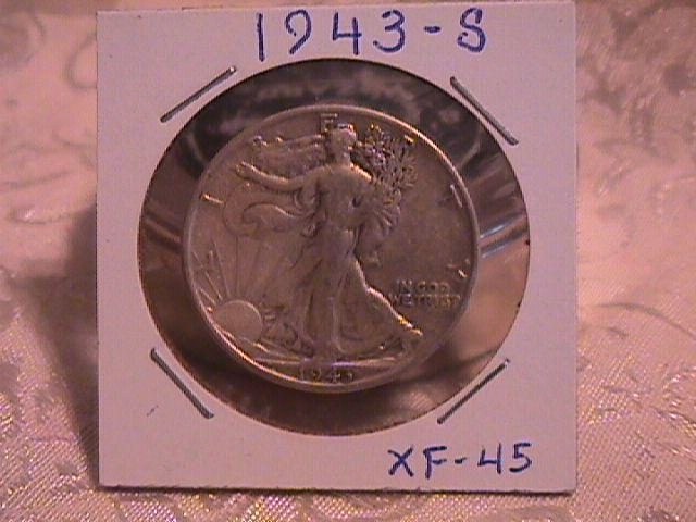 LIBERTY WALKING  HALF DOLLAR  DATED -1943-S GRADED EXTREMELY FINE -45   Condition