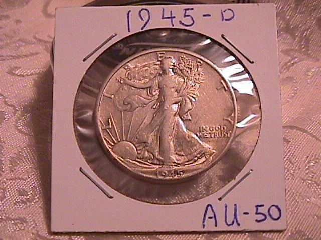 LIBERTY WALKING  HALF DOLLAR  DATED -1945-D GRADED ALMOST UNCIRCULATED  -50  Condition