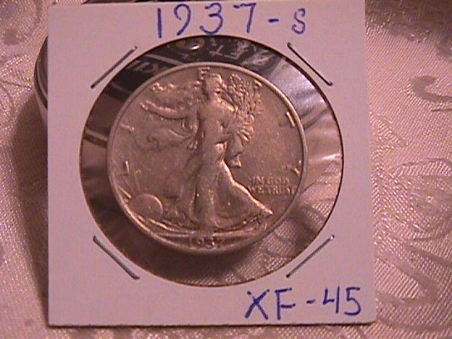 LIBERTY WALKING  HALF DOLLAR  DATED -1937-S GRADED EXTREMELY FINE -45   Condition