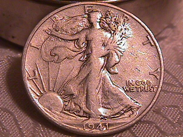 LIBERTY WALKING  HALF DOLLAR  DATED -1941-S GRADED EXTREMELY FINE -45   Condition