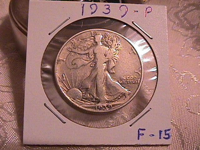 LIBERTY WALKING  HALF DOLLAR  DATED -1939-P GRADED  FINE -15   Condition